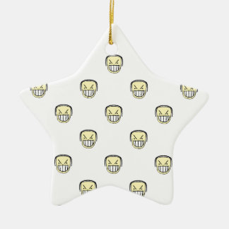 Angry Emoji Graphic Pattern Ceramic Ornament