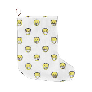Angry Emoji Graphic Pattern Large Christmas Stocking