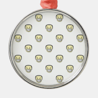 Angry Emoji Graphic Pattern Metal Ornament