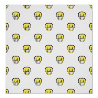 Angry Emoji Graphic Pattern Poster