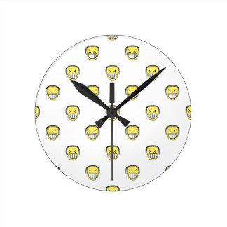 Angry Emoji Graphic Pattern Round Clock