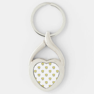 Angry Emoji Graphic Pattern Silver-Colored Twisted Heart Keychain