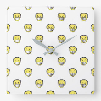 Angry Emoji Graphic Pattern Square Wall Clock