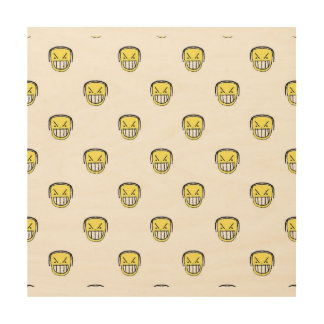 Angry Emoji Graphic Pattern Wood Wall Decor