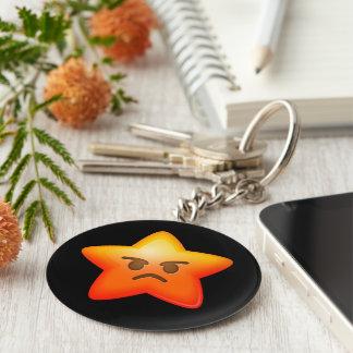 Angry Emoji Star Basic Round Button Keychain