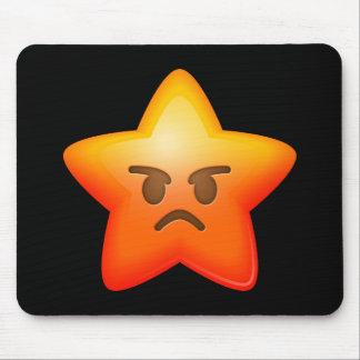 Angry Emoji Star Mouse Pad