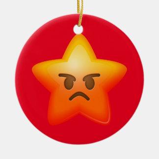 Angry Emoji Star Round Ceramic Ornament