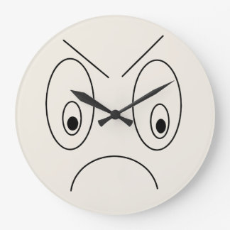 Angry Face Design Funny Large Clock