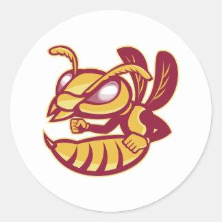 angry female hornet mascot classic round sticker