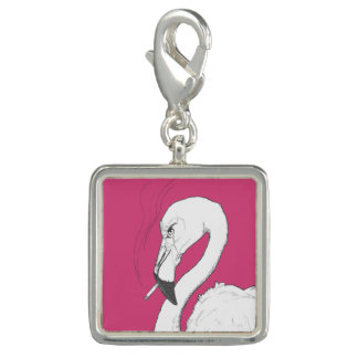 Angry Flamingo Charm or Keychain | Original Art