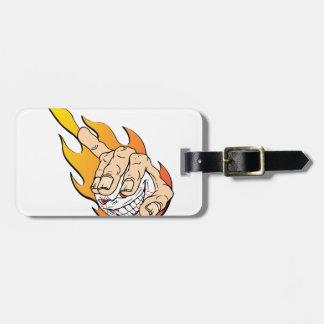 Angry Flamming Baseball Bag Tag