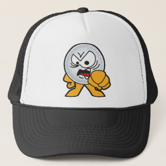 Angry Golf Ball Cartoon Trucker Hat
