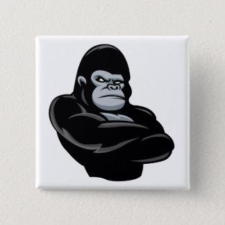 angry  gorilla 2 inch square button