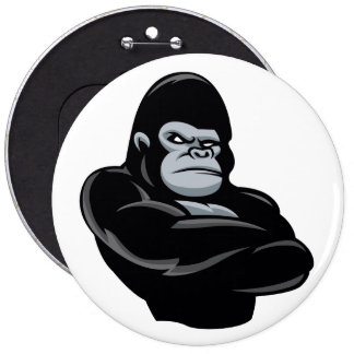 angry  gorilla 6 inch round button