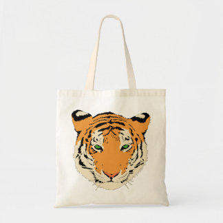 Angry Green Eyed Tiger Canvas Bags