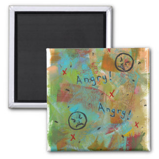 Angry grouchy yuck face mad fun contemporary art magnet