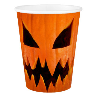 Angry halloween pumpkin paper cup