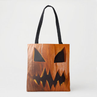 Angry halloween pumpkin tote bag