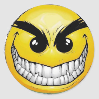 Angry Happy face Classic Round Sticker