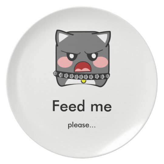Angry hungry dog - feed me- punt plate
