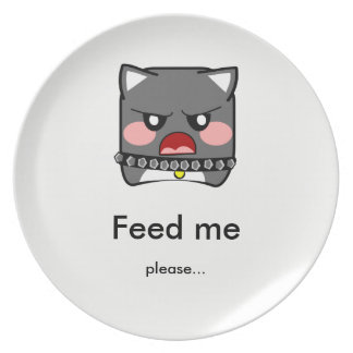 Angry hungry dog - feed me- punt plates