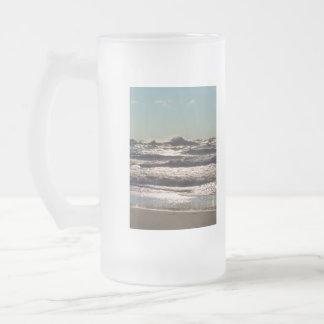 Angry Lake Michigan Frosted Glass Beer Mug
