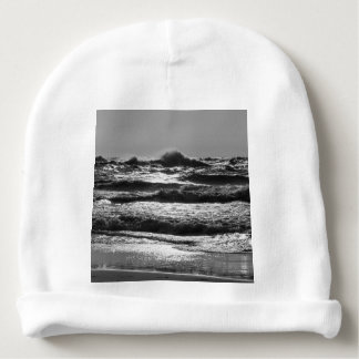 Angry Lake Michigan Grayscale Baby Beanie