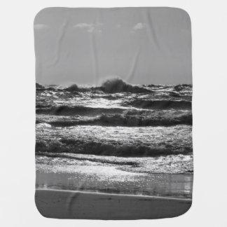 Angry Lake Michigan Grayscale Baby Blanket