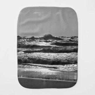 Angry Lake Michigan Grayscale Burp Cloth