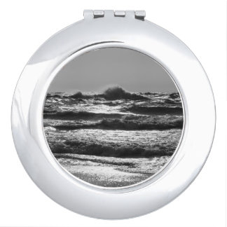 Angry Lake Michigan Grayscale Compact Mirror