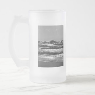 Angry Lake Michigan Grayscale Frosted Glass Beer Mug