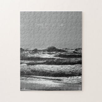 Angry Lake Michigan Grayscale Jigsaw Puzzle