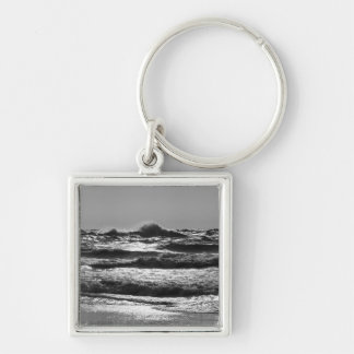 Angry Lake Michigan Grayscale Keychain
