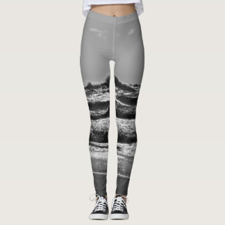 Angry Lake Michigan Grayscale Leggings