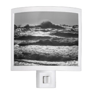 Angry Lake Michigan Grayscale Night Light