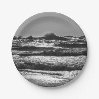 Angry Lake Michigan Grayscale Paper Plate