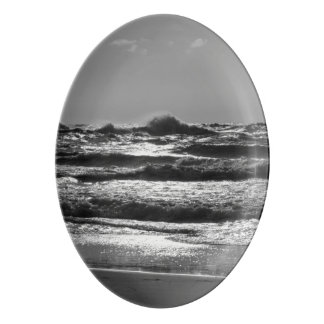 Angry Lake Michigan Grayscale Porcelain Serving Platter