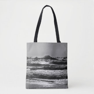 Angry Lake Michigan Grayscale Tote Bag