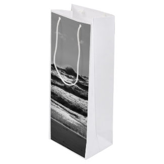 Angry Lake Michigan Grayscale Wine Gift Bag