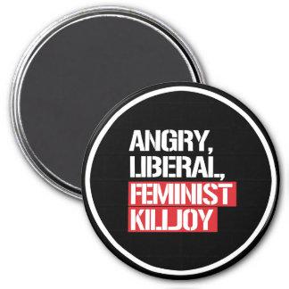 Angry Liberal Feminist Killjoy --  white - Magnet