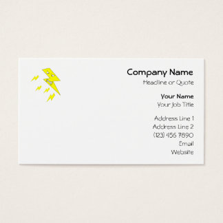 Angry Lightning Bolt. Yellow on White. Business Card