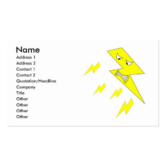 Angry Lightning Bolt Yellow on White Business Card Template