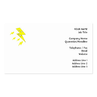 Angry Lightning Bolt Yellow on White Business Card