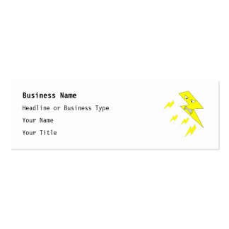 Angry Lightning Bolt. Yellow on White. Double-Sided Mini Business Cards (Pack Of 20)