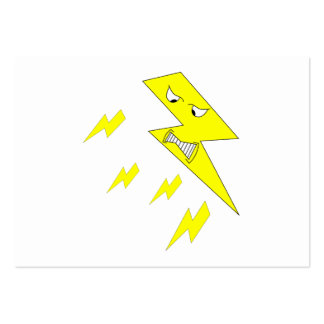Angry Lightning Bolt. Yellow on White. Business Card Template
