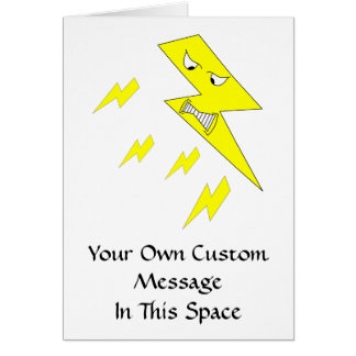 Angry Lightning Bolt. Yellow on White. Card