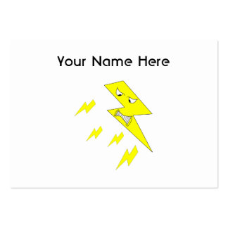 Angry Lightning Bolt. Yellow on White. Large Business Card