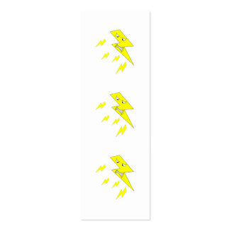 Angry Lightning Bolt. Yellow on White. Mini Business Card