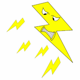 Angry Lightning Bolt. Yellow on White. Acrylic Cut Out