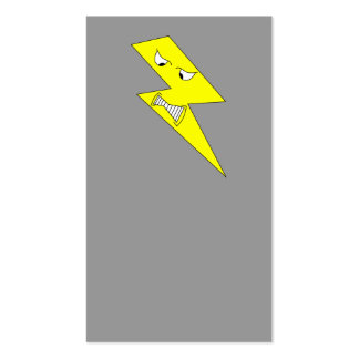 Angry Lightning. Yellow on Gray. Business Card Template
